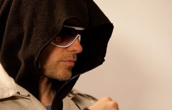 Picture glasses, hood, musician, bristles, coat, Jared Leto