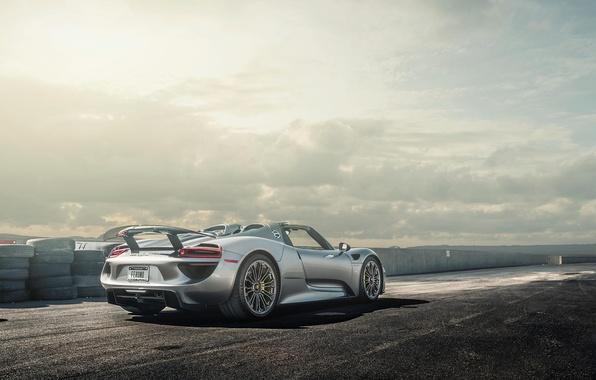 Picture Porsche, Spyder, 918, View, Silver, Wheels, Spoiler, Rear
