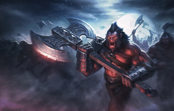 Picture army, warrior, art, axe, dota 2, Axe