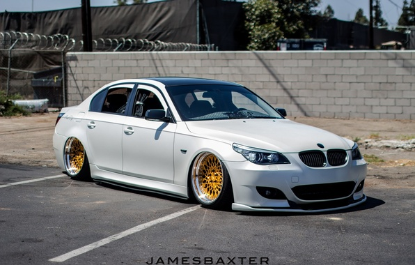 Wallpaper Bmm Tuning E60 Low White Wheels Germany