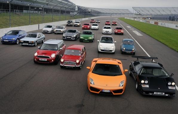 Picture background, Mercedes-Benz, Ford, Lamborghini, Volvo, Volkswagen, Opel, Nissan, racing track, Fiat, MINI, Seat
