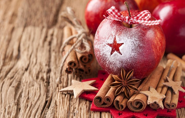 Picture winter, apples, sticks, red, cinnamon, bow, ribbon, holidays, spices, star anise, Anis