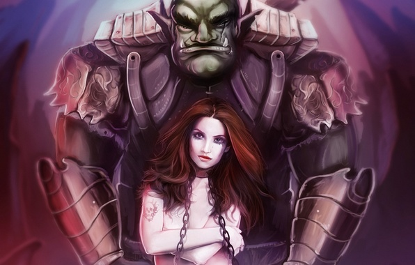 Picture girl, monster, tattoo, art, chain, Orc