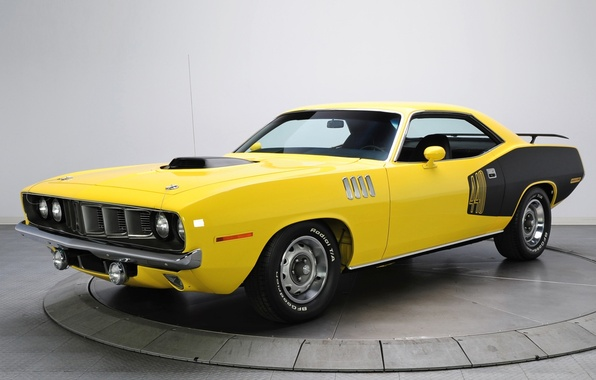 Picture yellow, background, 1971, Plymouth, the front, Muscle car, Cuda, Muscle car, Plymouth, Where, Barracuda, 440
