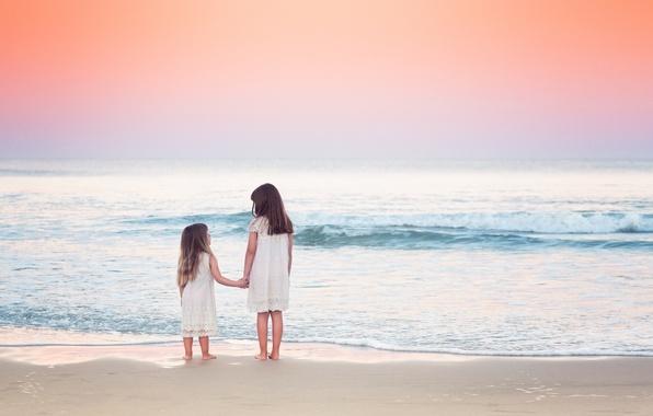 Picture sea, beach, the sky, nature, children