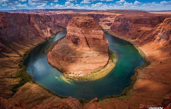 Picture the sky, clouds, river, Colorado, canyon, AZ, USA, state, Horseshoe (Horseshoe Bend)