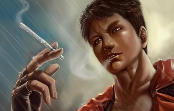 Picture rain, cigarette, guy, devil may cry, dante, DmC: Devil May Cry, Nephilim