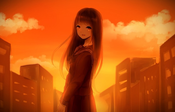 Picture the sky, girl, clouds, sunset, the city, home, anime, art, form, schoolgirl, ambient, chizuru