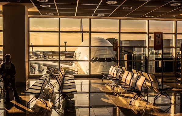 Picture sunset, sunrise, Airport, planes, airport, A380, The plane, Lufthansa, Airbus, Airbus, Lufthansa, 800, terminal, Hall, …