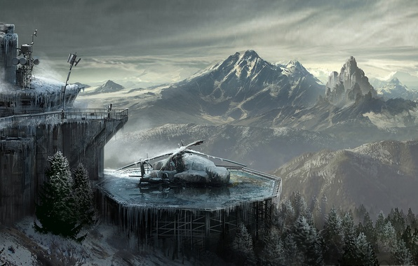 Picture The sky, Clouds, Mountains, Snow, Forest, Lara Croft, Art, Technique, Lara Croft, Rise of the: …