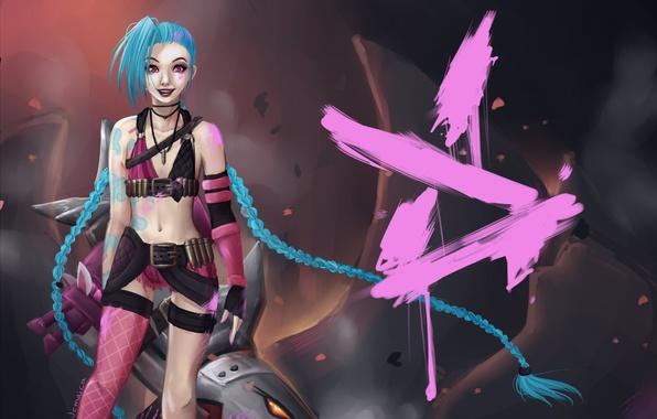 Picture girl, art, league of legends, Jinx