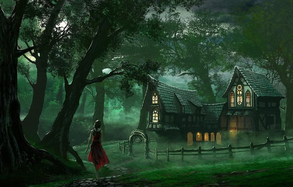 Picture forest, girl, home, art, track, house, red dress, edli