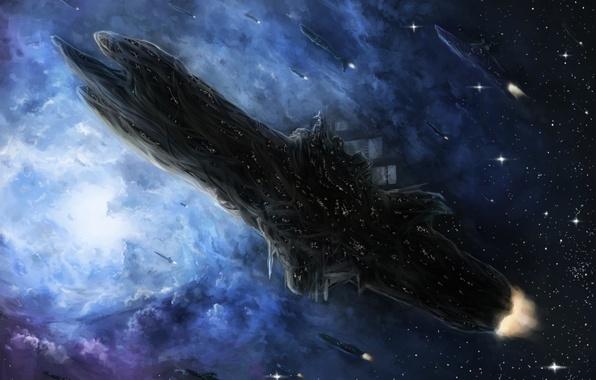 Picture space, stars, nebula, ships, art, habata