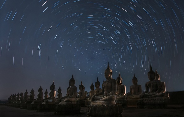 Picture stars, night, Thailand, the cycle, statues, Buddha