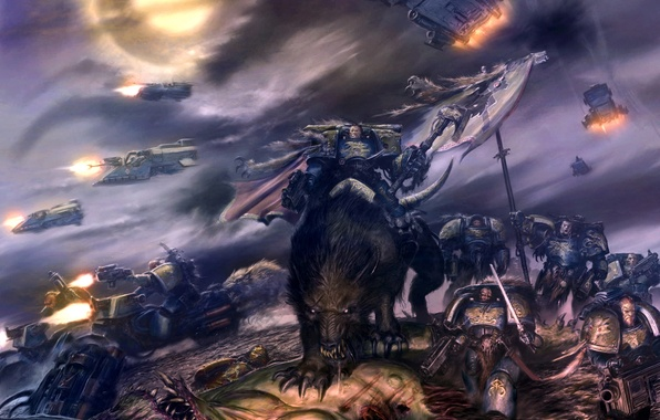 Picture Chaos, the demon, Space Wolves, The Space Wolves, warhammer 40k, space Marines, Nurgl