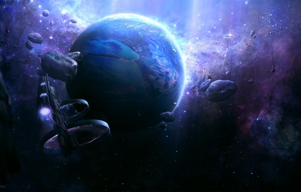 Picture planet, Stars, asteroids, spaceships