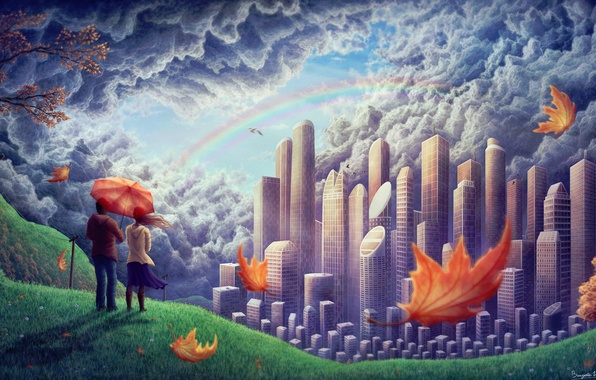 Picture girl, clouds, birds, the city, the wind, foliage, rainbow, hill, art, pair, guy