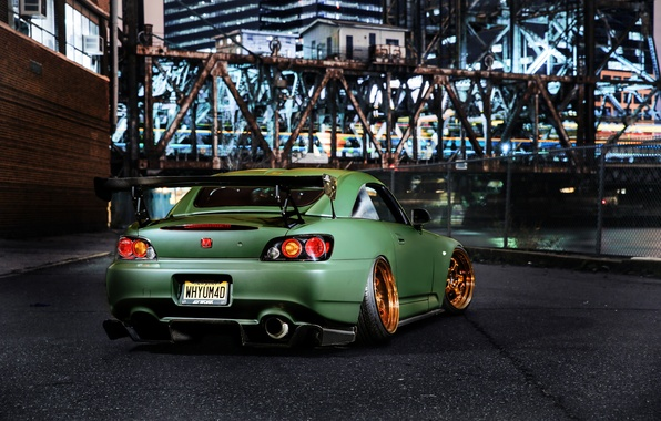 Picture night, green, tuning, Honda, tuning, rechange, honda s2000