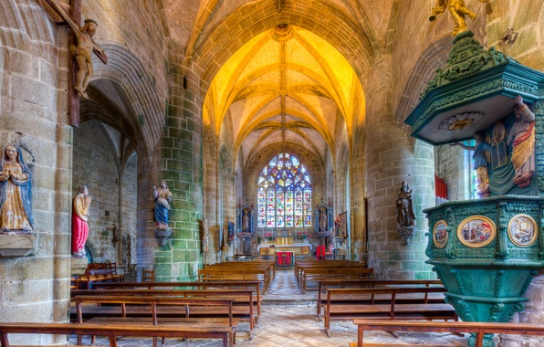 Picture France, Church, religion, bench, arch, Brittany, the nave, the pulpit, the monastery of St. Ronan, …