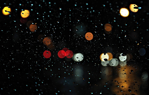 Picture glass, drops, the city, lights, rain, the evening, bokeh