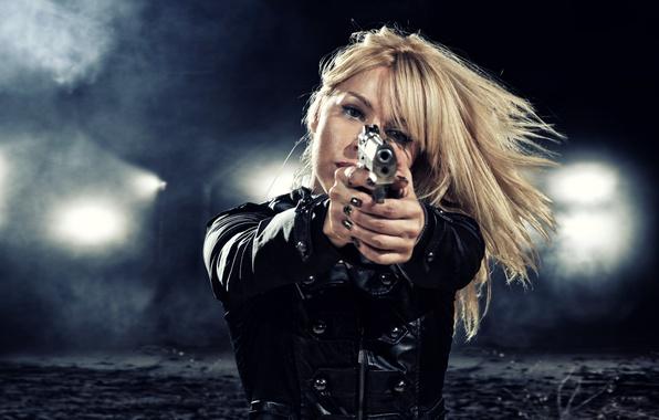 Picture girl, night, lights, gun, weapons, blur, jacket, blonde