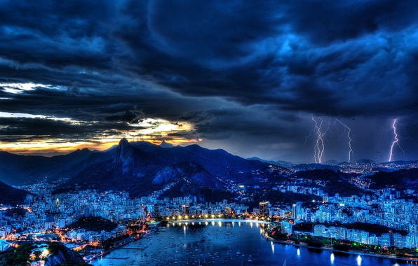 Picture the storm, the sky, night, clouds, lights, lightning, Bay, harbour, Brazil, Rio de Janeiro