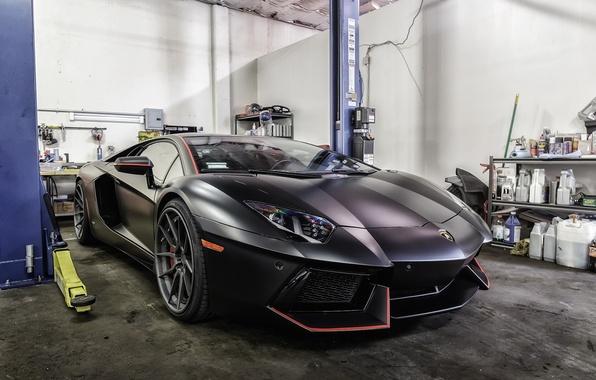 wallpaper lamborghini black matte aventador garage
