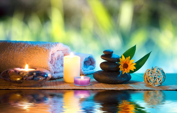 Picture flower, water, candles, flower, water, Spa, Spa, candles, Spa stones, Spa stones