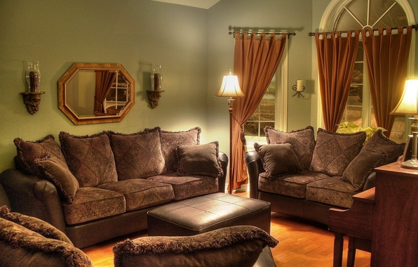 Picture design, style, lamp, room, sofa, furniture, interior, pillow, mirror, chairs, curtains, brown