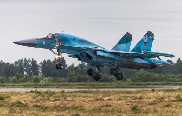 Picture fighter, bomber, the airfield, the rise, Su-34