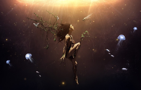 Picture girl, butterfly, branches, roots, tree, branch, surrealism, dragonfly, art, jellyfish, under water