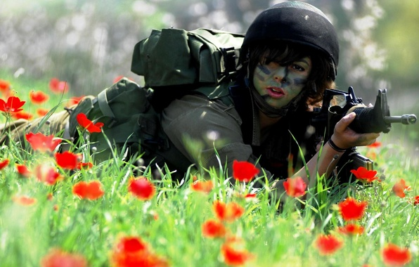 Picture grass, girl, flowers, red, Maki, soldiers, form, uniform, carabiner, M4A1, Israel, Israel, The IDF, IDF, …