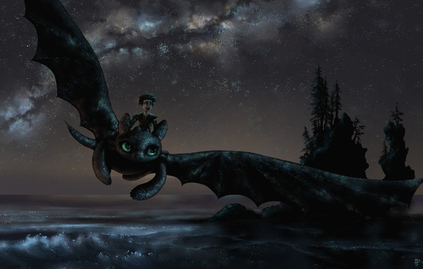 Picture sea, trees, flight, joy, night, mood, dragon, guy, art, how to train your dragon, toothless, …