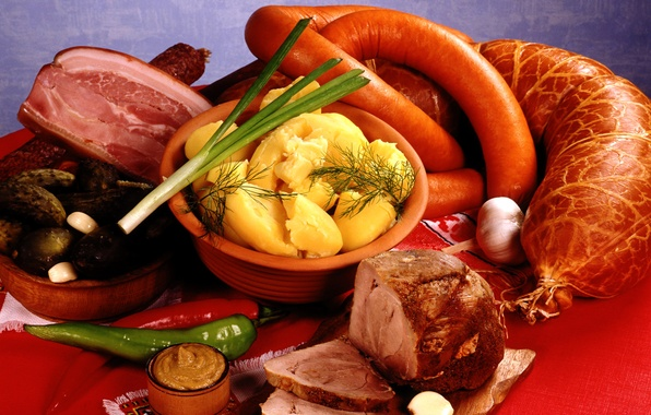 Picture bow, meat, pepper, vegetables, sausage, garlic, potatoes, mustard, pork