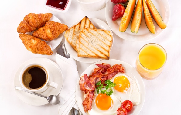 Picture coffee, Breakfast, cream, strawberry, juice, fruit, scrambled eggs, cup, jam, tray, bacon, coffee, toast, croissants, …