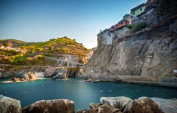 Picture sea, the city, rocks, home, Italy, Manarola, Cinque Terre
