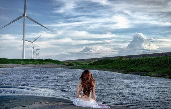 Picture girl, landscape, lake, windmills