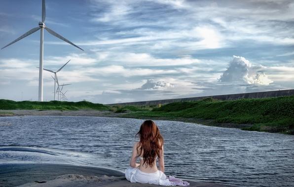 Picture girl, landscape, lake, windmills