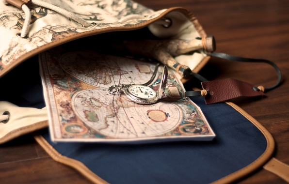 Picture watch, map, bag, backpack, pocket