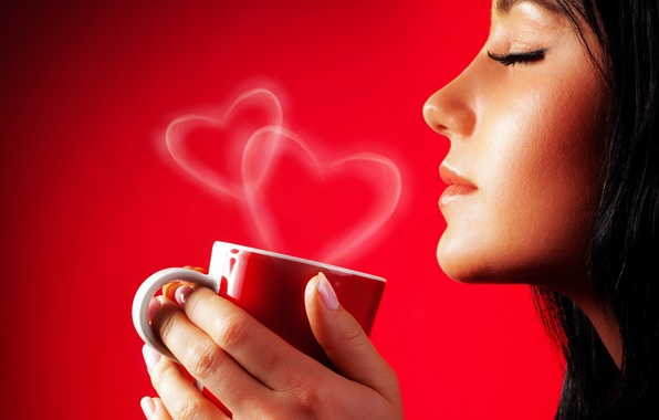 Picture girl, eyelashes, hair, heart, hands, Cup, profile, red background, closed eyes