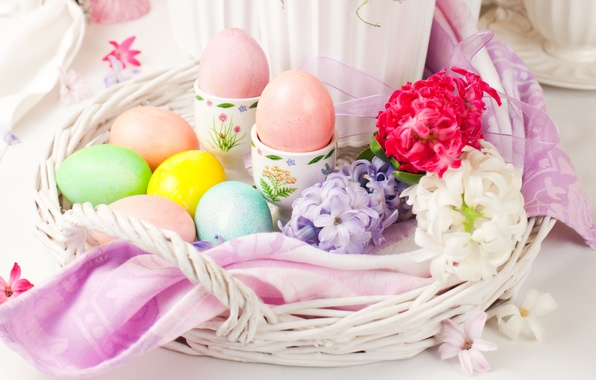 Picture flowers, eggs, Easter, flowers, spring, Easter, eggs, holiday, decoration, blessed