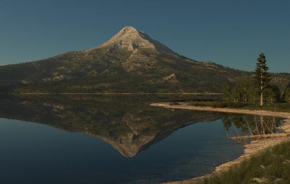 Picture greens, grass, nature, lake, surface, reflection, tree, mountain, dry