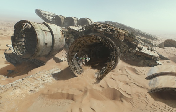 Picture desert, chase, Star Wars, the ruins, Star Wars, The Force Awakens, The Force Awakens, Episode …
