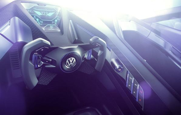 Picture Concept, interior, Volkswagen, the wheel, Golf, Golf, Volkswagen, Sport, dashboard, torpedo, GTE, 2015