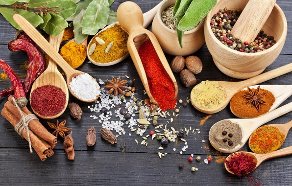 Picture red, walnut, pepper, cinnamon, spices, seasoning, Anis, bowls, cumin, nutmeg