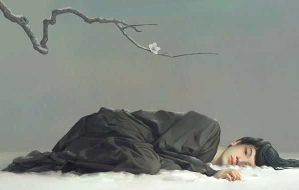 Picture flower, girl, snow, branch, art, Asian, lying