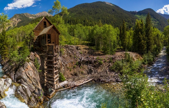 Picture forest, trees, mountains, river, Colorado, panorama, water mill, Colorado, Crystal, Crystal Mill, Crystal River, Crystal
