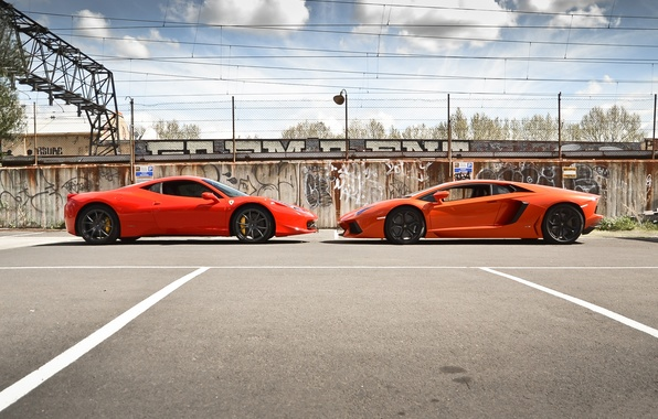 Picture orange, red, profile, red, lamborghini, ferrari, Ferrari, Italy, orange, 458 italia, aventador, lp700-4, Lamborghini, aventador, …
