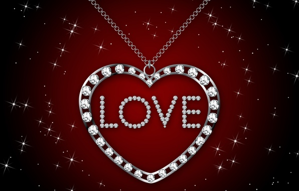 Picture silver, love, i love you, heart, glamour, brilliant, necklace, diamonds, design by Marika