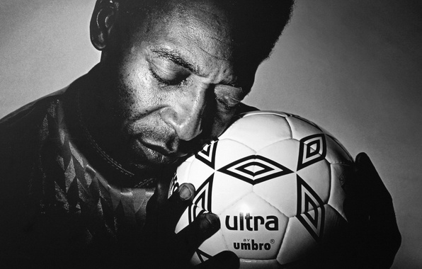 Picture love, soccer, ball, hands, Pele, black & white, Pele